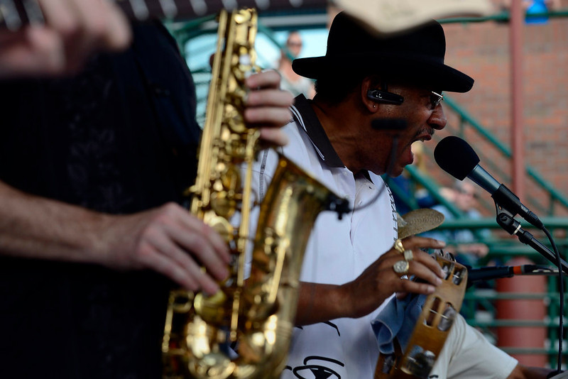 . The Buckner Funken Jazz band performs on the Five Points Plaza stage at the Five Points Jazz Festival, May 18, 2013. The festival runs 11am to 8pm on May 18, 2013 and is a free community event highlighting local musicians, art and the historic Denver Five Points neighborhood.  (Photo By Mahala Gaylord/The Denver Post)