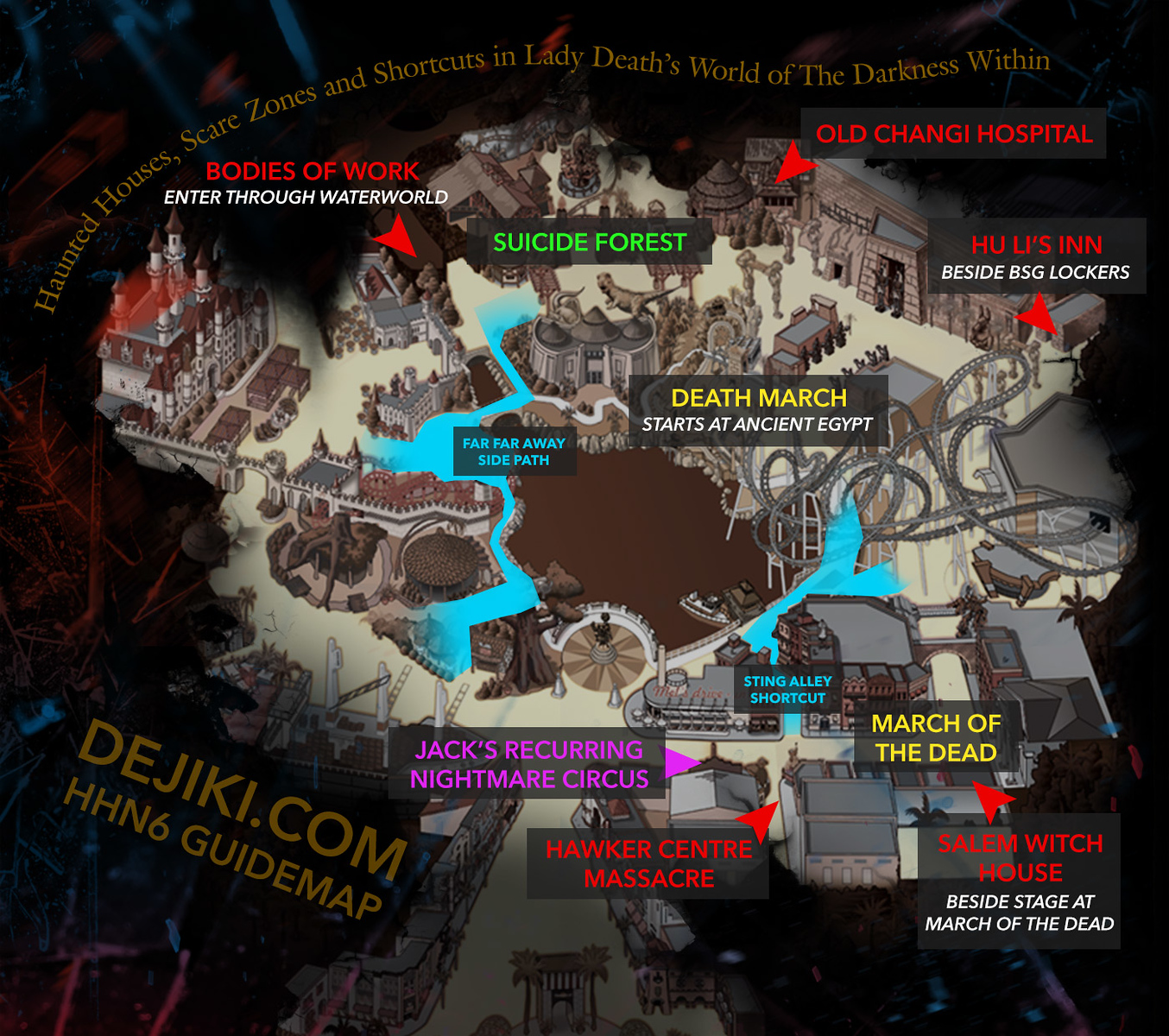 Halloween Horror Nights 6 Park Map by Dejiki.com