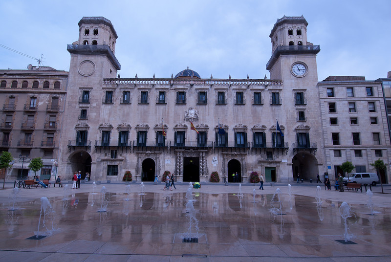 Wide shot of the Alicante Town Hall in Spain