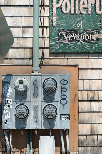 Electricity meters (Urban still life) - Newport, Rhode Island, USA - August 16, 2015