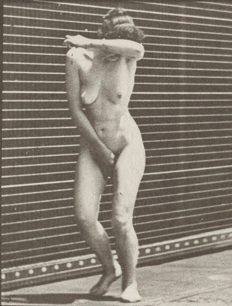 Nude woman turning around in surprise and running away