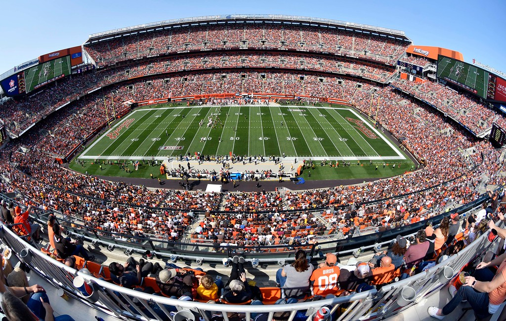. Cleveland Browns fans watch the Browns play the Pittsburgh Steelers during the first half of an NFL football game, Sunday, Sept. 10, 2017, in Cleveland. (AP Photo/David Richard)