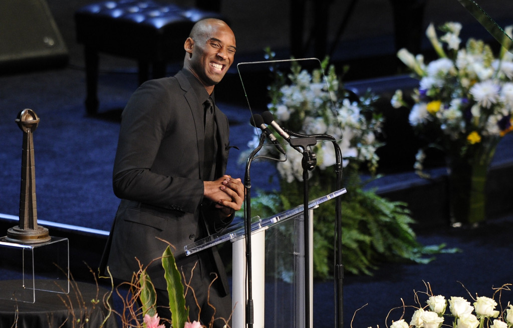 . Kobe Bryant talks about hiring Phil Jackson as a coach.  Family, friends current and former Lakers players and coaches attended a memorial service at the Nokia Theatre for Laker owner Jerry Buss who passed away on Monday, 2/18/2013 as a result of cancer. Los Angeles, CA 2/21/2013 John McCoy/Staff Photographer