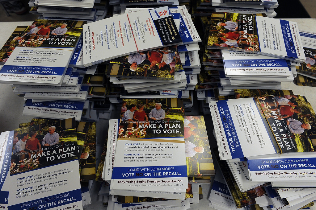 . COLORADO SPRINGS, CO - SEPTEMBER 10:  Campaign literature sits on tables for canvassers and volunteers for the  State Senator John Morse as they make last minute efforts to get people to vote before the polls close at 7:00 in Colorado Springs, CO on September 10, 2013.   Morse, who is the Colorado Senate president,  faces a recall after his stance on gun control legislation angered his constituents. (Photo By Helen H. Richardson/ The Denver Post)