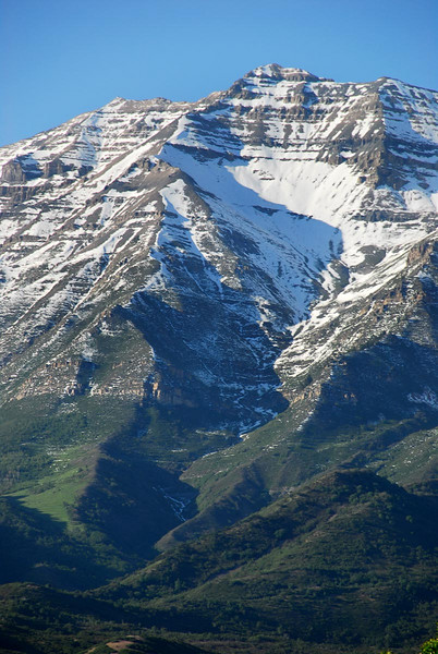 6/7/07 – This is another shot of Timpanogos shot from Orem near where Lisa grew up. The peak on the left is the summit, not the one that looks the highest – its just closer. If you look at this shot full size you can actually see the summit shack reflecting the sunlight.