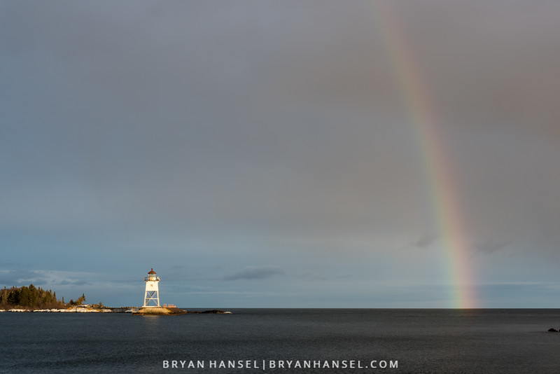 Winter Rainbow over the Grand Marais Harbor