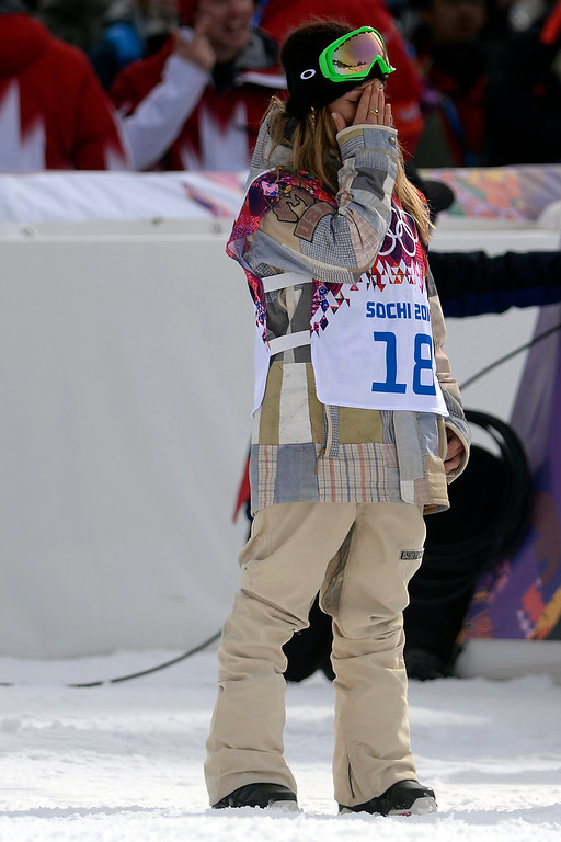 . ROSA KHUTOR, RUSSIA - FEBRUARY 09: Gold medalist Jamie Anderson, of the United States, takes in the moment during the women\'s snowboard slopestyle final. Sochi 2014 Winter Olympics at the Rosa Khutor Etreme Park on Sunday, February 9, 2014. (Photo by AAron Ontiveroz/The Denver Post)