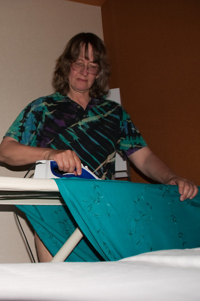 Last time this century you'll see me (a) in a dress, (b) ironing.