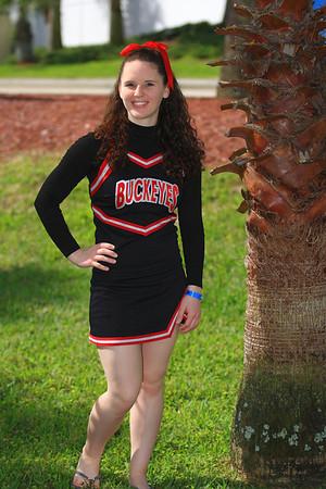 Ohio State All Girl Cheer Team in Daytona Beach outdoor warmups