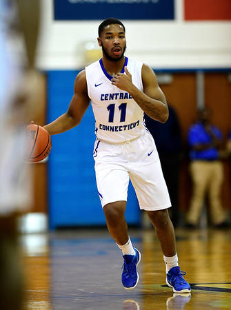 1/19/2019 Mike Orazzi | Staff CCSU's Thai Segwai (11) during Saturday's Men's basketball game with Saint Francis University in New Britain.