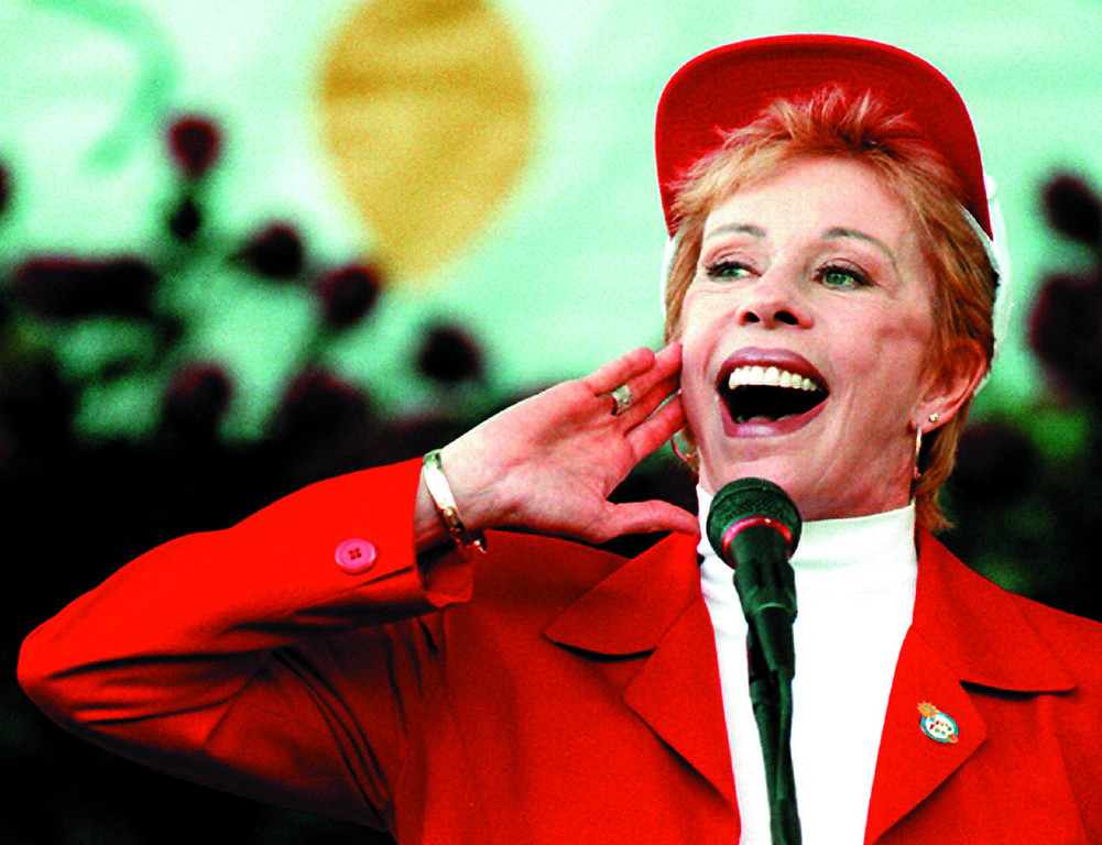 . Carol Burnett, demonstrating her Tarzan yell after being named Grand Marshal of the 109th Rose Parade, Tournament of Roses. Tournament of Roses President Gary Dorn announced today at Pasadena Tournament of Roses. 1998 Pasadena Star News file photo