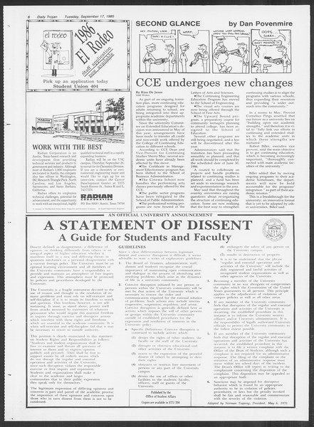 Daily Trojan, Vol. 100, No. 11, September 17, 1985