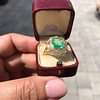 5.34ctw Emerald and Old Mine Cut Diamond Cluster Ring 15