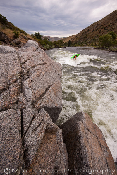 "Will Parham with a big ""Loop"" at Climax Surf Wave on the Main Payette River, Idaho."