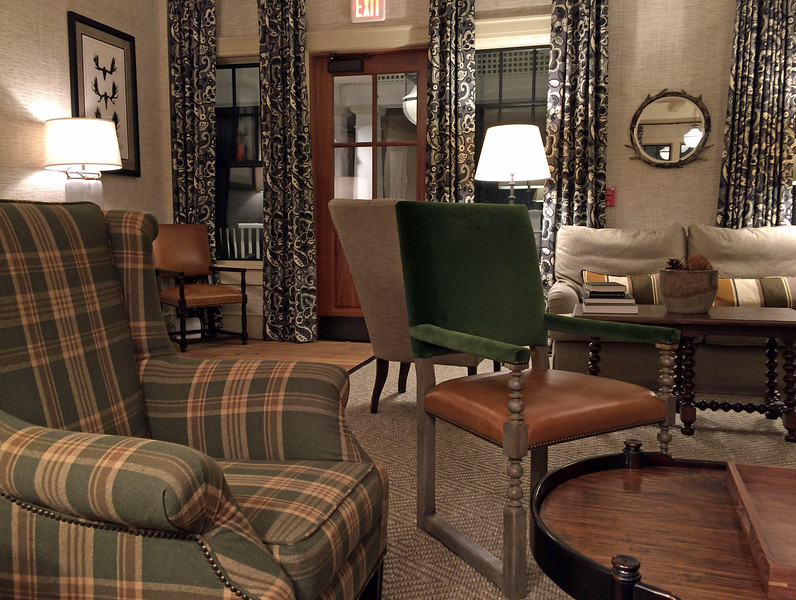 Lobby seating at the Taconic Hotel in Manchester, VT