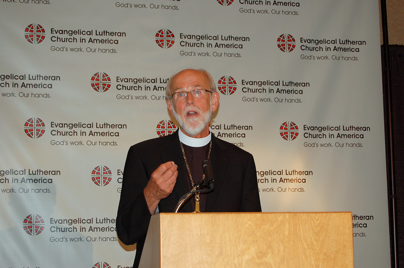 Presiding Bishop Mark S. Hanson makes a point during the news conference.
