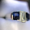 2.83ctw Vintage Emerald Diamond and Sapphire Trilogy Ring 25