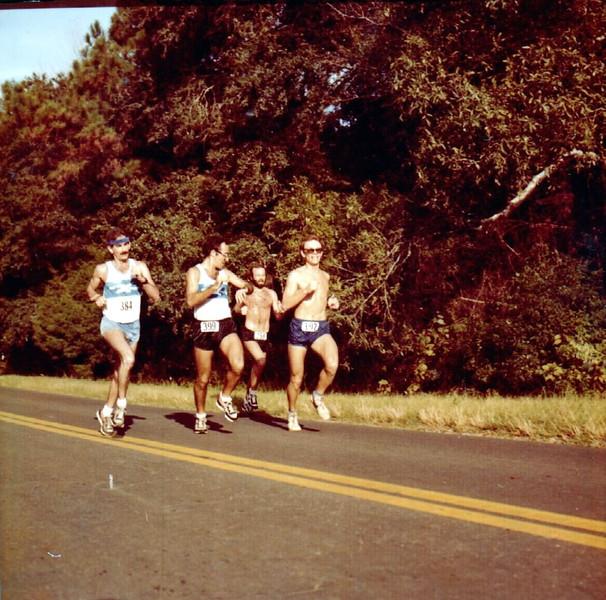 I'll guess this shot is from the 1982 Boston (GA) Mini-Marathon. L-r, me, Gordon Cherr, Frank Nearhoof, John Hesselbart. Photog?