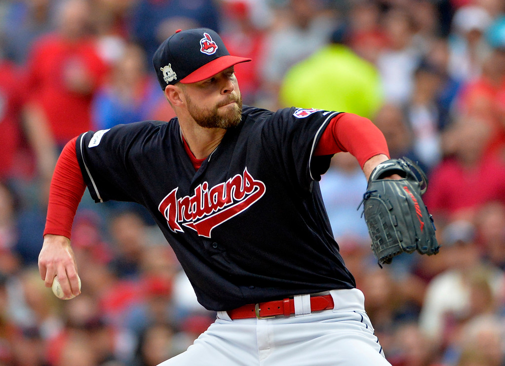 . Cleveland Indians starting pitcher Corey Kluber delivers in the first inning of Game 2 of baseball\'s American League Division Series against the New York Yankees, Friday, Oct. 6, 2017, in Cleveland. (AP Photo/Phil Long)
