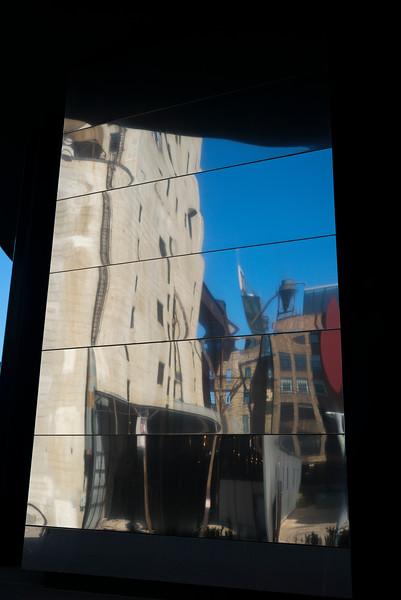 Reflections on glass window, Guthrie Theater, Minneapolis, Hennepin County, Minnesota, USA