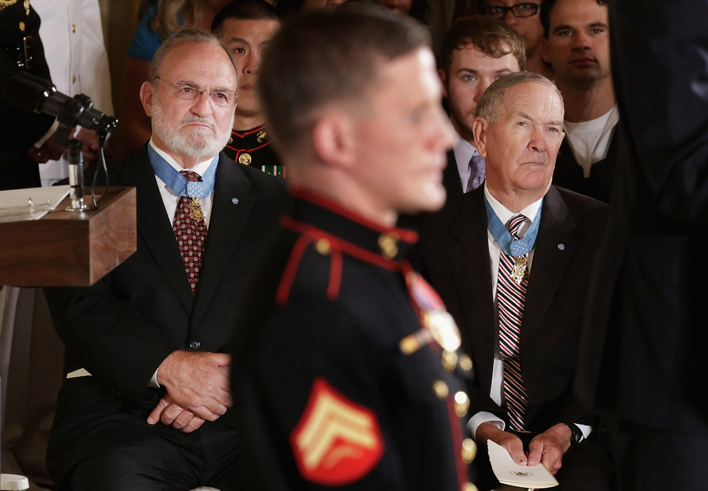 . Previous Medal of Honor recipents attend retired Marine Cpl. William \'Kyle\' Carpenter\'s Medal of Honor ceremony in the East Room of the White House on June 19, 2014 in Washington, DC. (Photo by Chip Somodevilla/Getty Images)