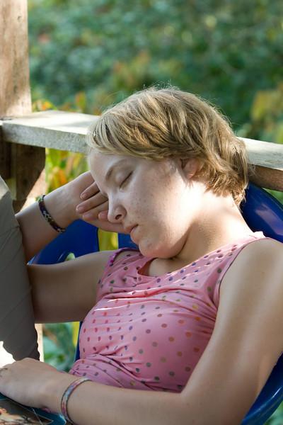 Molly asleep at the Bai.