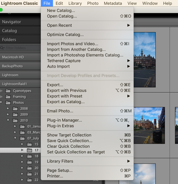 Accessing the Export Window from the File Menu of Adobe ® Lightroom