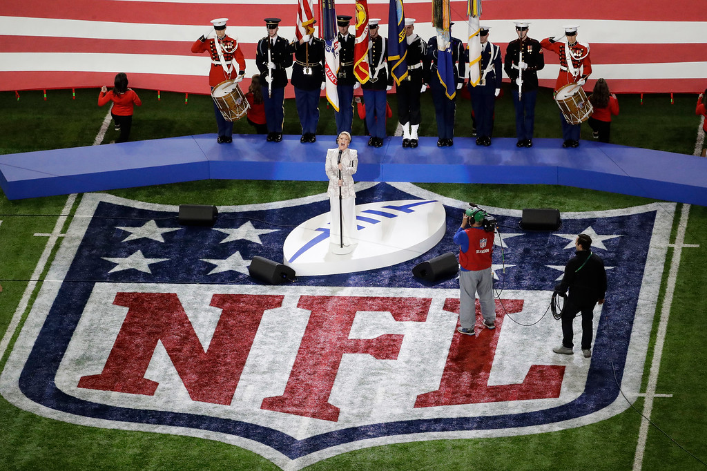 . Pink performs the national anthem before the NFL Super Bowl 52 football game between the Philadelphia Eagles and the New England Patriots, Sunday, Feb. 4, 2018, in Minneapolis. (AP Photo/Eric Gay)