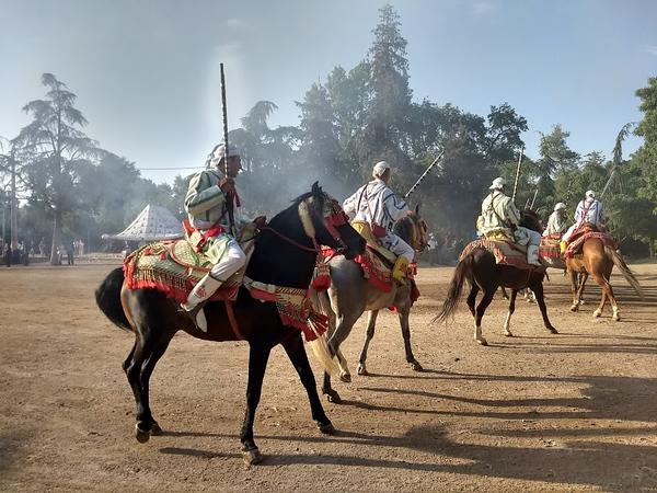 men on horseback during local celebration