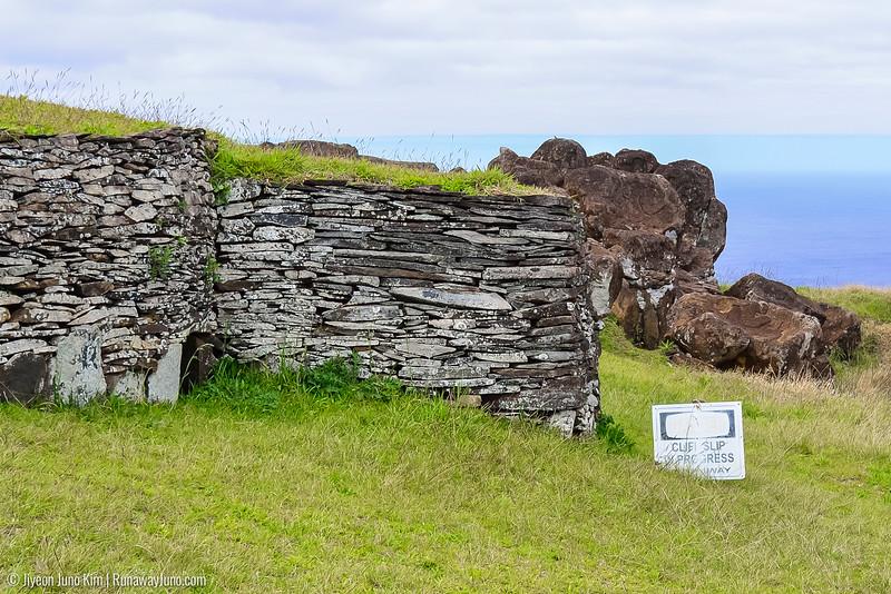 House at Orongo and petroglyph