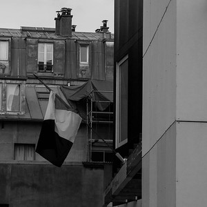 French flag on school, Paris 11eme