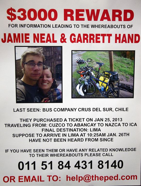 . A missing persons poster for Jamie Neal, a worker at The Pedaler bike shop, and her boyfriend Garrett Hand is photographed on Sunday, Feb. 24, 2013, in El Sobrante, Calif.  The store has made up missing person fliers to pass out at the shop.   (Aric Crabb/Staff)