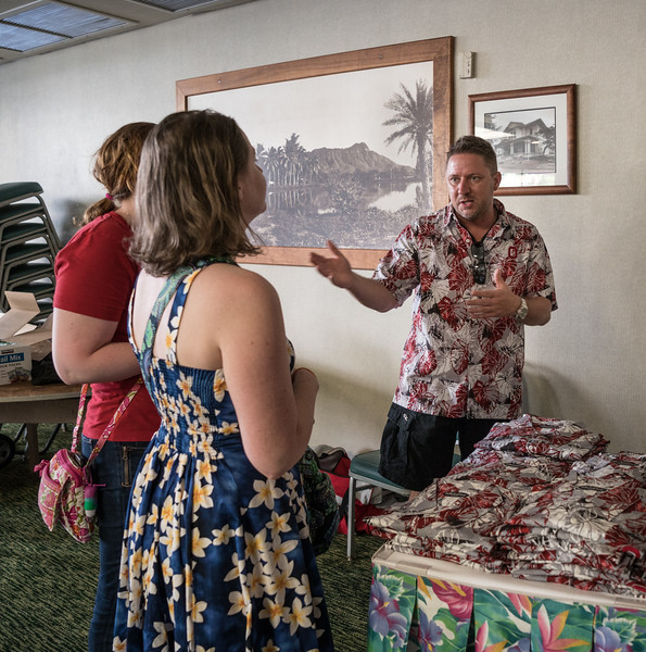 Local alum Steve.  The scarlet and grey Hawaii shirts were flying off the table!