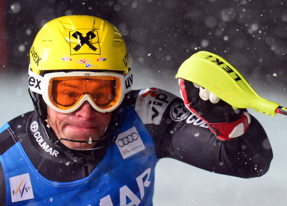 Description of . Ivica Kostelic of Croatia clears a gate in his second run in the FIS Alpine World Cup Men's Slalom on December 8, 2012 in Val d'Isere, French Alps. Alexis Pinturault of France won the race ahead Felix Neureuther of Germany and Marcel Hirscher of Austria. AFP PHOTO / FRANCK  FIFE/AFP/Getty Images