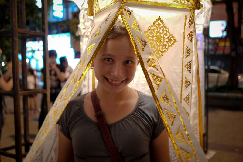 Ana during Loy Krathong in Chiang Mai, Thailand