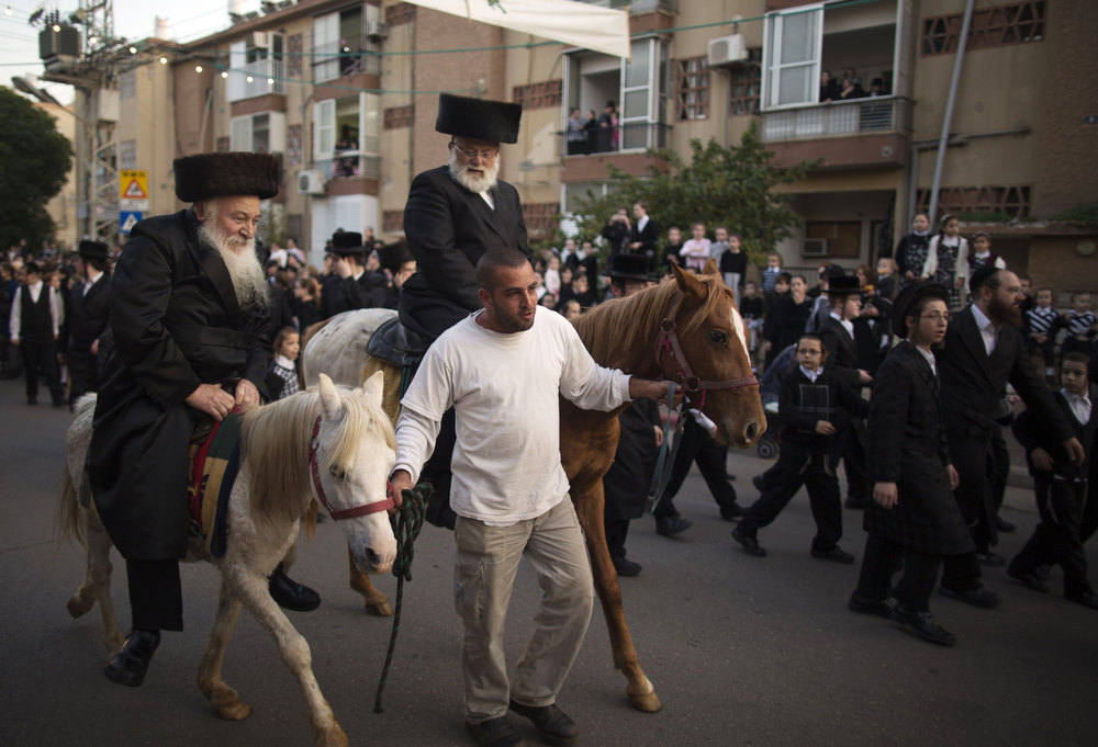 Description of . Ultra-Orthodox Jews ride horses during the wedding of the great-grandson of the Rabbi of the Tzanz Ultra-Orthodox Hasidic community in Netanya, on January 1, 2013. MENAHEM KAHANA/AFP/Getty Images