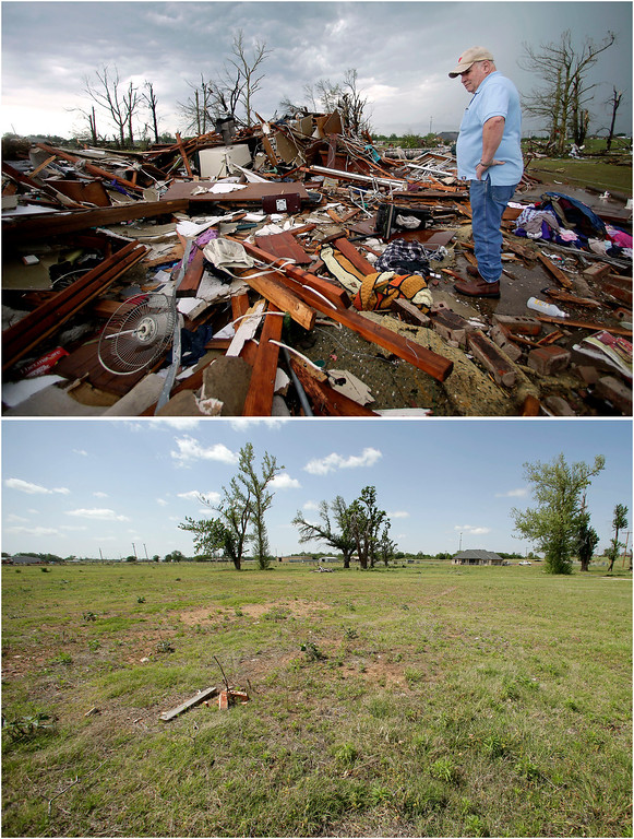 . In this photo combination, Monty Montgomery surveys the scene as he prepares to clean up a friend\'s tornado-ravaged home on May 23, 2013, in Moore, Okla., top, and the site on the outskirts of the Oklahoma City suburb is cleared and barren on May 8, 2014, bottom. (AP Photo/Charlie Riedel)