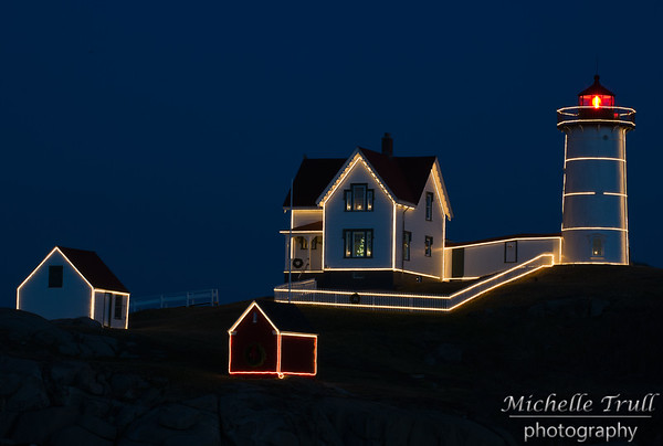 Nubble Light decorated for Christmas