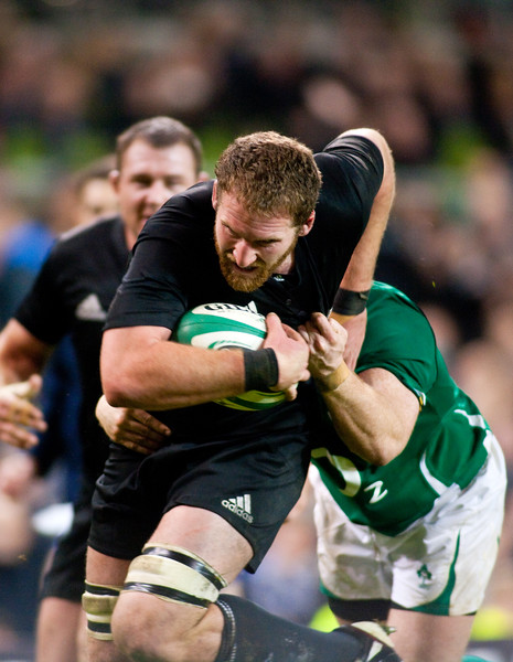 Kieran Read heads for the try line during the International rugby test with Ireland against the New Zealand All Blacks at Aviva Stadium Dublin. November 2010