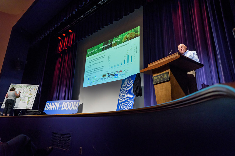 Robb Fraley, chief technology officer of Monsanto and World Food Prize laureate, speaks on the first day of the Dawn Or Doom conference in Fowler Hall. (Purdue University Photo/Alex Kumar)