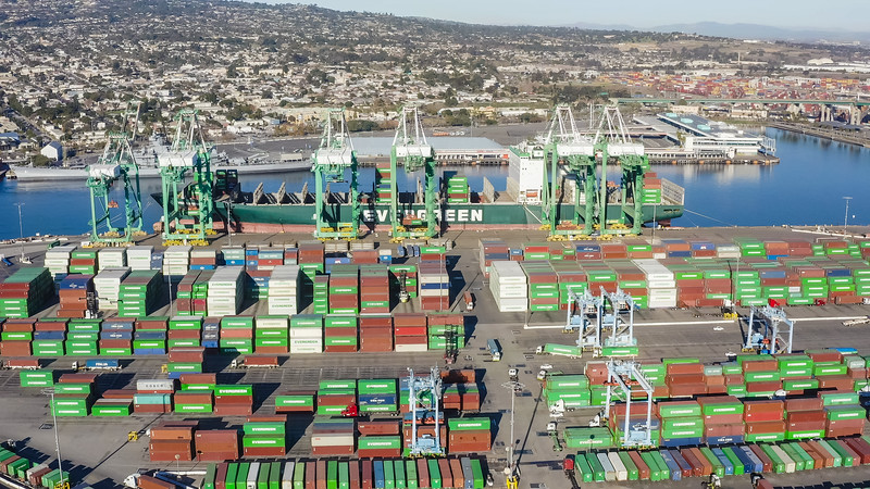 The Evergreen Ever Legend container ship is loaded at port in Los Angeles - San Pedro, Los Angeles, California, United States (US)