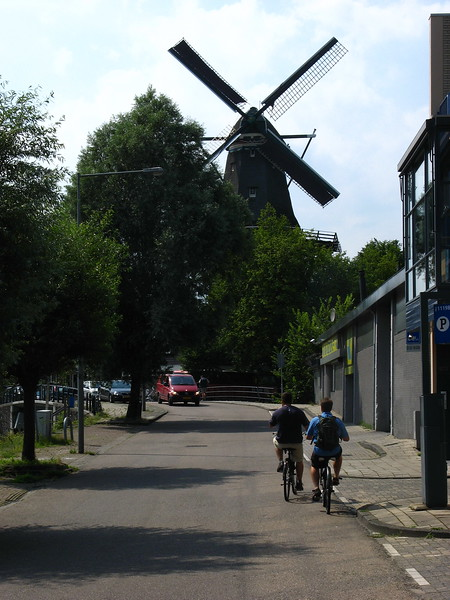 Going to have a beer in a giant windmill.