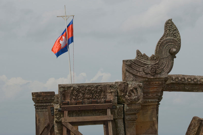 Flag waving atop the ruins in Preah Vihear Temple