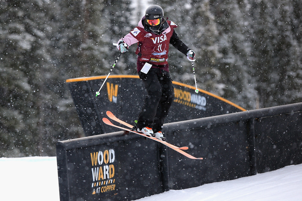 . Rebecca Roberts in action during qualifying for the women\'s FIS Slopestyle Ski World Cup at the U.S. Snowboarding and Freeskiing Grand Prix on December 20, 2013 in Copper Mountain, Colorado.  (Photo by Doug Pensinger/Getty Images)