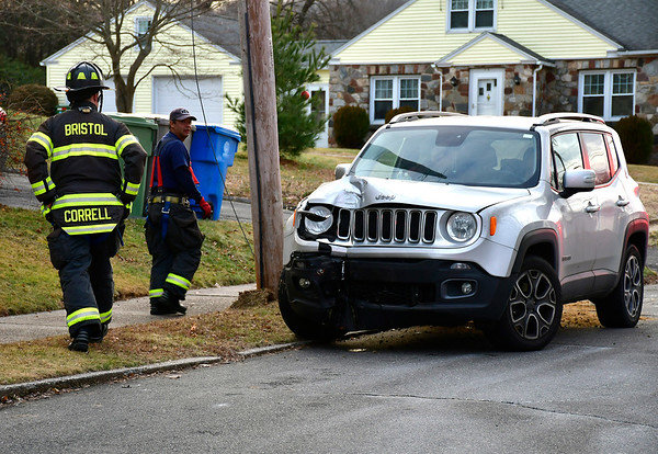 12/27/2018 Mike Orazzi | Staff The scene of a one-car crash on Cherry Street in Bristol Thursday. No injuries were reported.