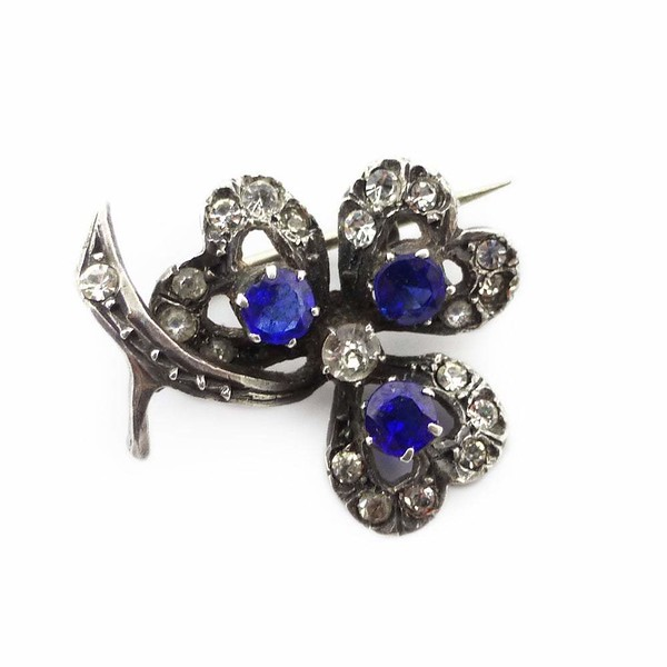 Antique French Art Deco Silver Blue Glass Paste Clover Brooch