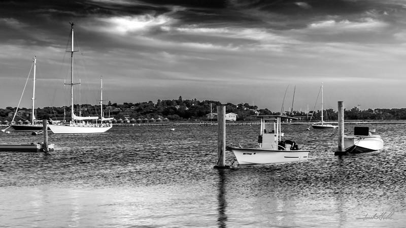 Boats moored in Edgartown , Harbor