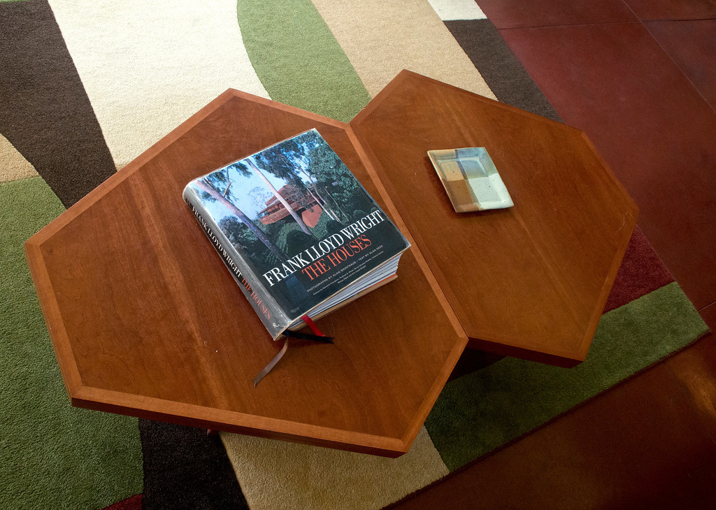 . Duncan Scott/DScott@News-Herald.com A coffee table in the living room of the Frank Lloyd Wright designed Louis Penfield House in Willoughby Hills.