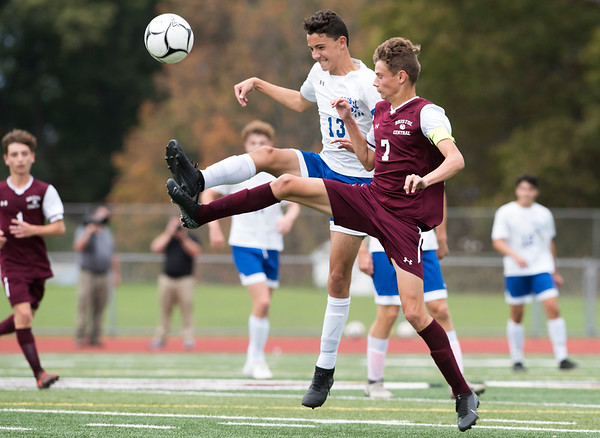 10/07/19 Wesley Bunnell | StaffrrBristol Eastern and Bristol Central played to a 1-1 tie in their match at Bristol Central High School on Monday afternoon. Bristol Eastern's Drew Dauphinee (13) and Bristol Central's Adam Jones (7).