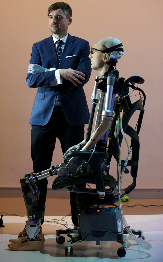 Description of . Researcher Bertolt Meyer, a lifelong user of prosthetic technology and the model for
